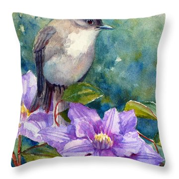 Phoebe And Clematis Throw Pillow