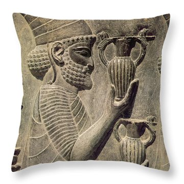 Phoenician Carrying Two Vases As An Offering, Detail Of The Relief Frieze On The East Stairway Throw Pillow