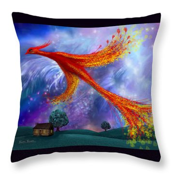 Phoenix Flying At Night Throw Pillow