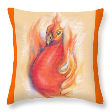 Phoenix In The Flames Throw Pillow