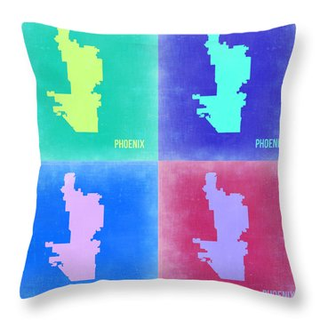 Phoenix Pop Art Map 1 Throw Pillow by Naxart Studio