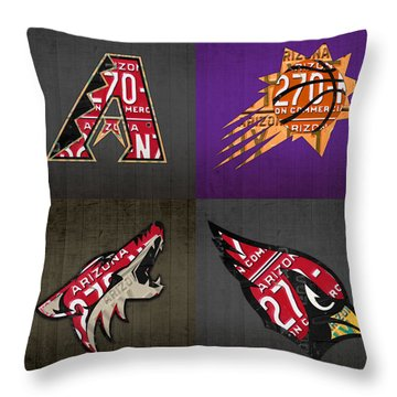 Phoenix Sports Fan Recycled Vintage Arizona License Plate Art Diamondbacks Suns Coyotes Cardinals Throw Pillow