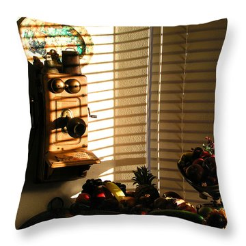 Throw Pillow featuring the photograph Phone And Fruit by Craig T Burgwardt