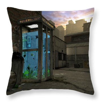 Phone Booth Throw Pillow by Cynthia Decker