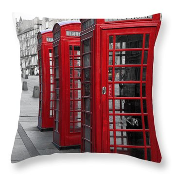Phone Boxes On The Royal Mile Throw Pillow by Jane Rix