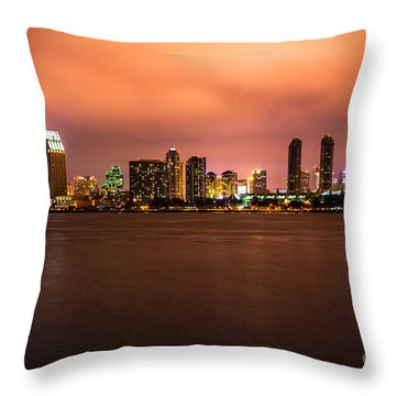 Photo Of San Diego At Night Throw Pillow by Paul Velgos