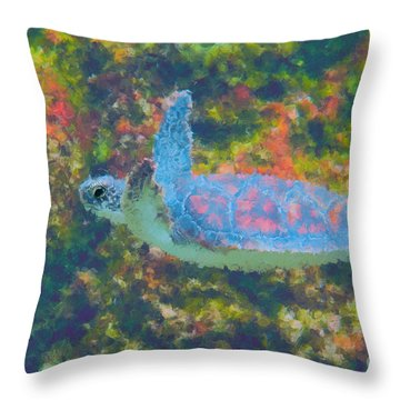 Photo Painting Of Sea Turtle Throw Pillow by Dan Friend