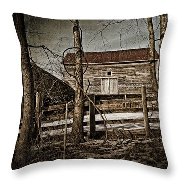 Country Barn Photograph Throw Pillow