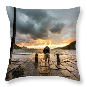 Photographer Shooting The Sunrise Throw Pillow
