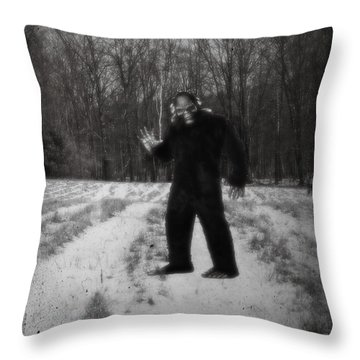 Photographic Evidence Of Big Foot Throw Pillow by Edward Fielding