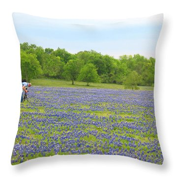 Photographing Texas Bluebonnets Throw Pillow by Connie Fox