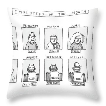 Photos Of The Employees Of The Month. Beginning Throw Pillow