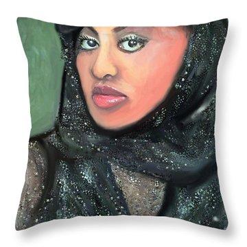 Throw Pillow featuring the digital art Phyllis Hyman by Vannetta Ferguson