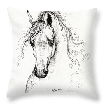 Piaff Polish Arabian Horse Drawing Throw Pillow by Angel  Tarantella
