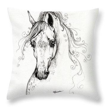 Piaff Polish Arabian Horse Drawing Throw Pillow