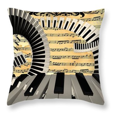 Piano Keys  Throw Pillow by Louis Ferreira