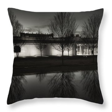 Piano Pavilion Bw Reflections Throw Pillow by Joan Carroll