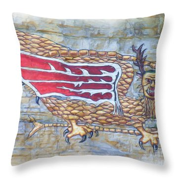 Throw Pillow featuring the photograph Piasa Bird In Oils by Kelly Awad
