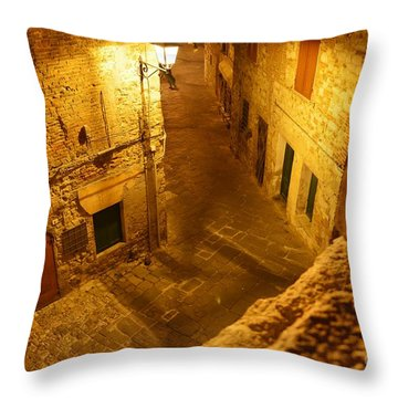 Piazza By Night In Tuscany Throw Pillow by Ramona Matei