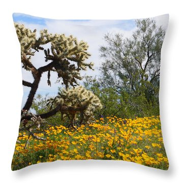 Picacho Peak Wild Flowers Throw Pillow