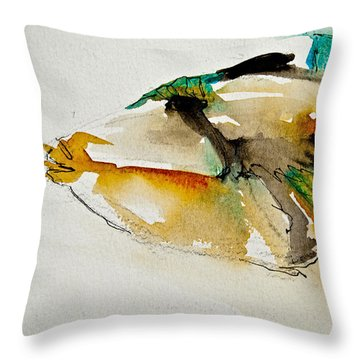 Throw Pillow featuring the painting Picasso Trigger by Jani Freimann