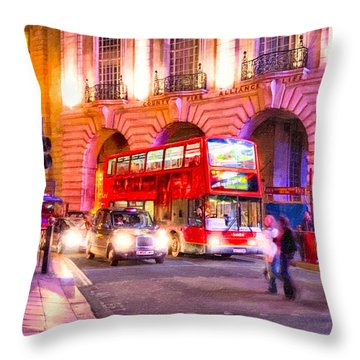 Throw Pillow featuring the photograph Piccadilly Circus By Night - London by Mark E Tisdale