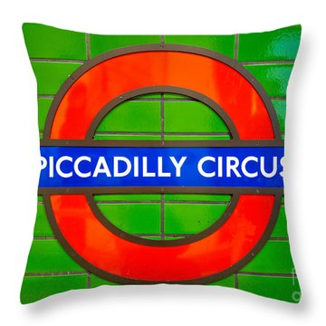 Throw Pillow featuring the photograph Piccadilly Circus Tube Station by Luciano Mortula