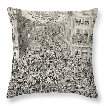 Piccadilly During The Great Exhibition Throw Pillow by George Cruikshank