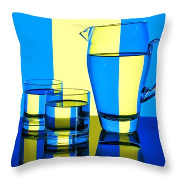 Pichet Et Verres Throw Pillow by Nikolyn McDonald