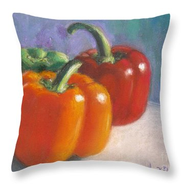 Pick A Pepper Throw Pillow by Laurie Morgan