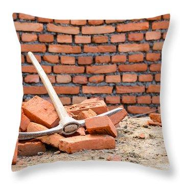 Pickaxe On A Construction Site Throw Pillow