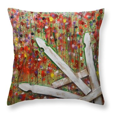 Picket Fence Flower Garden Throw Pillow