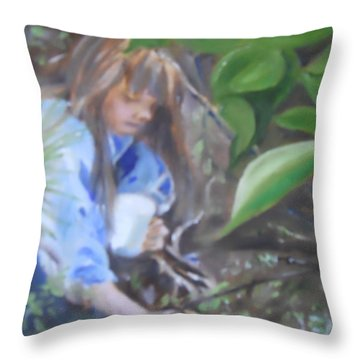 Picking Blueberries Throw Pillow by Joyce Reid