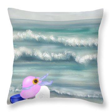 Picking Sea Shells  Throw Pillow