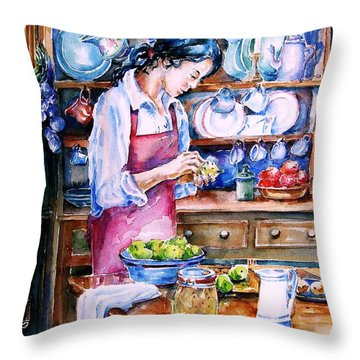Throw Pillow featuring the painting Pickling Pears  by Trudi Doyle