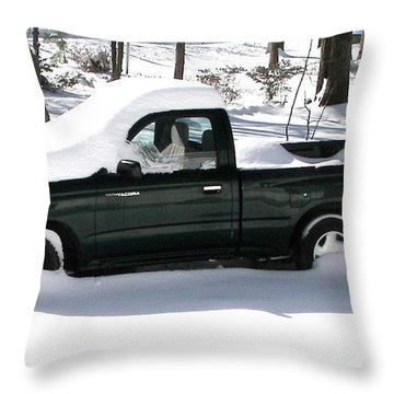 Throw Pillow featuring the photograph Pickup In The Snow by Pamela Hyde Wilson