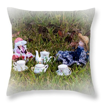 Picnic For Dolls Throw Pillow