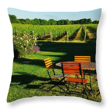 Picnic In The Vineyard Throw Pillow