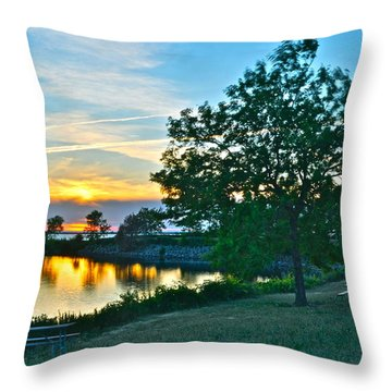 Picnic Lake Throw Pillow by Frozen in Time Fine Art Photography