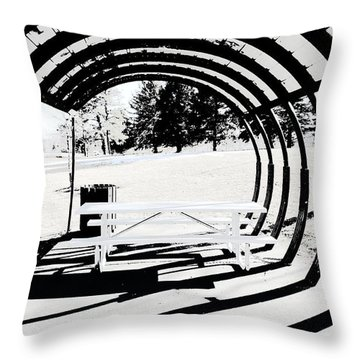 Picnic Table And Gazebo Throw Pillow