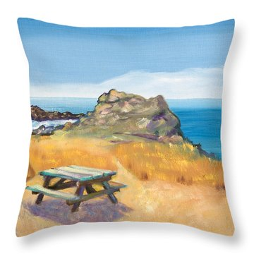 Picnic Table And Ocean With Yellow Field Throw Pillow by Asha Carolyn Young