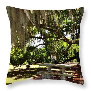 Picnic Under Spanish Moss  Throw Pillow
