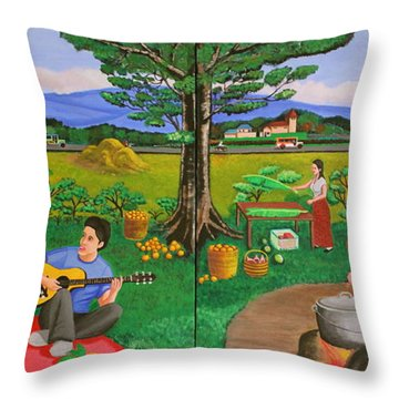 Picnic With The Farmers And Playing Melodies Under The Shade Of Trees Throw Pillow by Lorna Maza