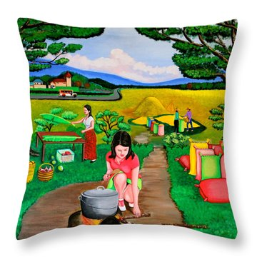 Picnic With The Farmers Throw Pillow by Lorna Maza