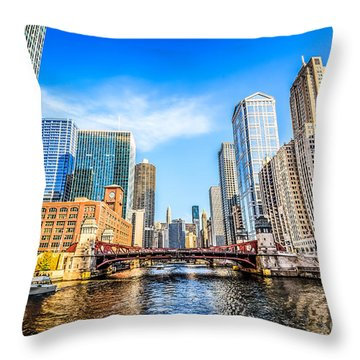 Picture Of Chicago At Lasalle Street Bridge Throw Pillow by Paul Velgos