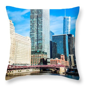 Picture Of Chicago River Skyline At Franklin Bridge Throw Pillow by Paul Velgos
