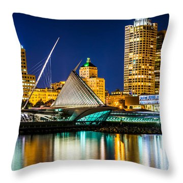 Picture Of Milwaukee Skyline At Night Throw Pillow