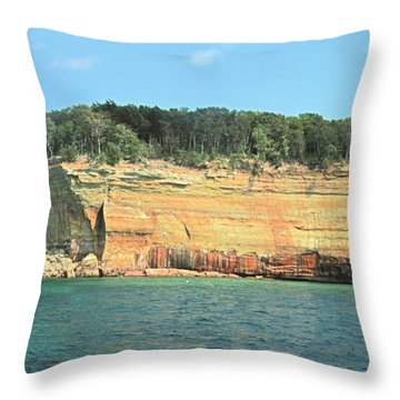 Pictured Rocks Sunlight And Shadows Panorama Throw Pillow