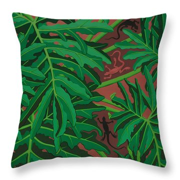 philodendron pictures - Lizard Leaves Throw Pillow