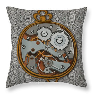 Throw Pillow featuring the drawing Pieces Of Time by Meg Shearer